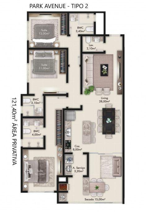 Apartamento no Edifício Park Avenue em Itapema SC .
